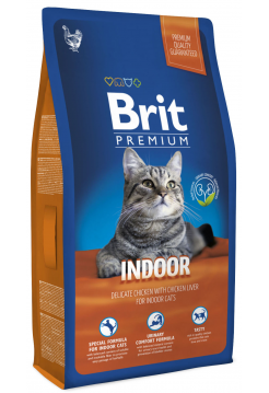 Premium Cat Indoor курица и печень д/кошек, домаш. содержания 8кг